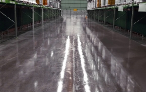 Industrial power floated concrete floor sealed with the Blocksil Sealer.